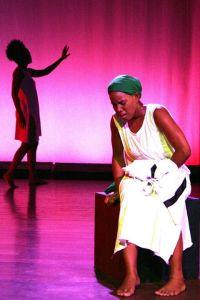 A broken Joylene Alexander bemonas her fate, shadow danced by Jasmine Taylor.